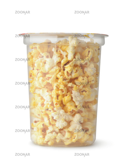 Front view of popcorn in clear plastic bucket