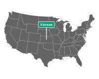 Kansas Ortsschild und Karte der USA - Kansas state limit sign and map of USA