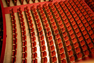 The empty parterre in the concert hall of Vienna State Opera auditorium.