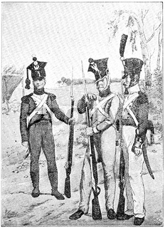 Polish troops (1812). Illustration of the 19th century. Germany. White background.