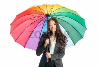 frau unter einem regenschirm