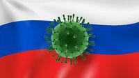 Model of Coronavirus on the background of Russian flag.