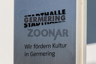Municipal Germering, District Fürstenfeldbruck, Upper Bavaria, Germany: Sign and Logo of Civic City Hall (Stadthalle Germering)