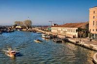 Venice, Italy - 03/20/2019 - Canal at Venezia Santa Lucia train station