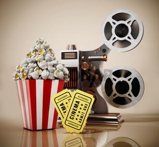Vintage movie projector, popcorn and cinema tickets. 3D illustration