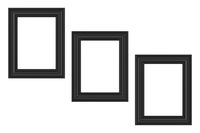 three black frames isolated on white background