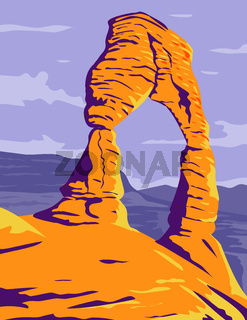 Delicate Arch Freestanding Natural Arch in Arches National Park Moab Grand County Utah WPA  Poster Art Color