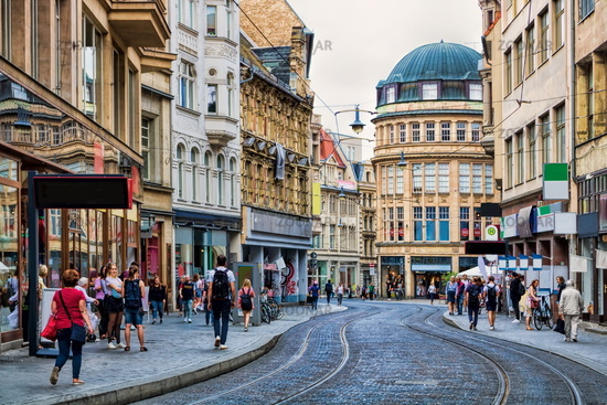 Halle Saale, Germany - 17.06.2019 - Grand ulrich Strasse shopping mile in the city center