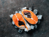 Two raw wild salmon steaks