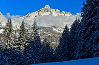 Piz Lavarela in wintertime, Alta Badia, Dolomites, South Tyrol, Italy