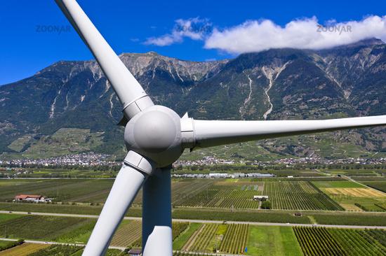 Adonis wind turbine in the Rhone Valley, largest wind turbine in Switzerland, Charrat, Valais, Switzerland