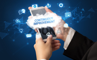 Hand using smartphone with cloud technology concept