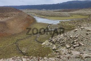 The dried up bed of 'Ogosta' Dam near Montana, Bulgaria.