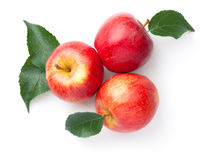 Red Apples With Leaves Isolated Over White