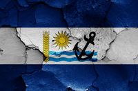 flag of Rio Negro Department painted on cracked wall
