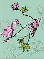 Vintage sketch closeup of pink magnolia branch with leaves on green background for decorative design. Vector romantic floral illustration. Spring background. Hand drawn illustration