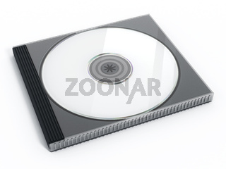 CD or DVD case with blank media isolated on white background