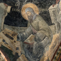 Fresco of the poet Saint Kosmas in Cora Church, Istanbul, Oct 11, 2013. He is seated on a bench and