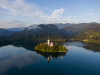 Aerial view of the Bled island in the morning