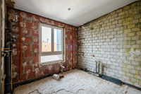 empty bathroom during renovation, sanitary refurbishment  -