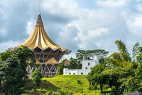 Parliament building and fort on the north bank of the Sarawak River in Kuching