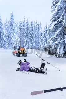 Ski patrol rescue injured skier after accident