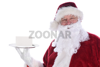 Santa Claus holding a silver platter with a blank note card, isolated on white.