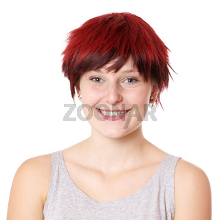 happy young woman with short hair