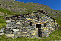 Traditional granary on a mountain pasture, Alp Charmotane, Val de Bagnes, Valais, Switzerland