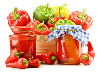 Composition with assorted peppers isolated on white background