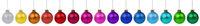 Weihnachten bunte Weihnachtskugeln Kugeln Advent Dekoration in einer Reihe isoliert freigestellt Freisteller