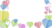 frame of folded paper cut hearts in different pastel colors isolated on white