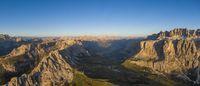 Aerial view of Pizes de Cir mountain range, Gardena Pass and Sella group, Italy