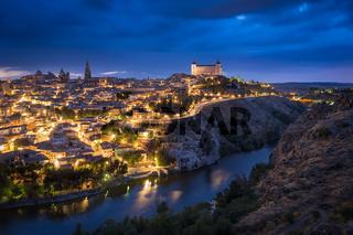 Toledo after sunset, Castile-La Mancha, Spain