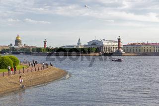View of the Spit of Vasilyevsky Island. Saint Petersburg, Russia.