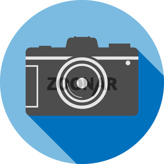 simple flat round dslr camera icon or symbol