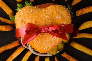 Heart shape hamburger gift