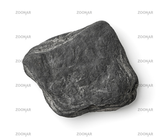 Top view of flat grey stone