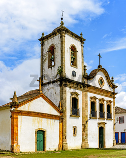Facade of famous historic church in the ancient city of Paraty