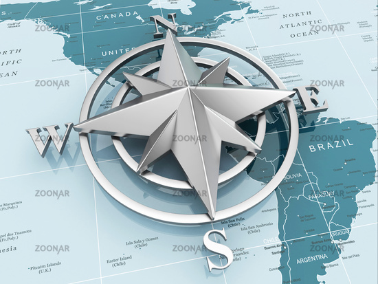Navigation sign or compass on political map.