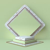 Green and brown abstract background with marble square pedestal steps 3D