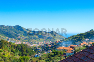 Maderia village ocean mountains perspective