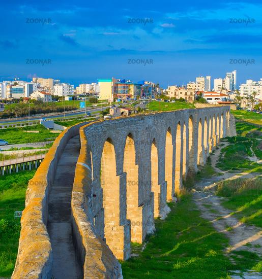 Kamares Aqueduct Larnaca cityscape, Cyprus