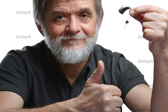 Man happy with hearing aid