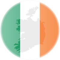 round irish flag and map of ireland outline sticker