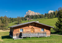 Huts on Seiser Alm, Alpe di Siusi, South Tyrol