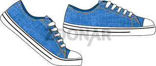 Sneakers. Mens and womens sports and casual shoes. Outline drawing. Denim texture.
