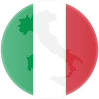 round italian flag and map of italy outline sticker