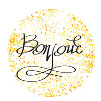 Bonjour Phrase on Yellow Confetti Circle. Hand Sketched Vacation Typography Sign for Badge, Icon.