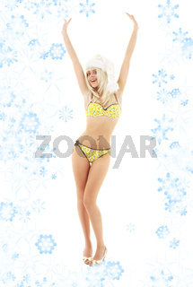 santa helper blond on high heels with snowflakes